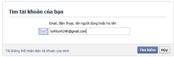 Nhập địa chỉ email để khôi phục 1