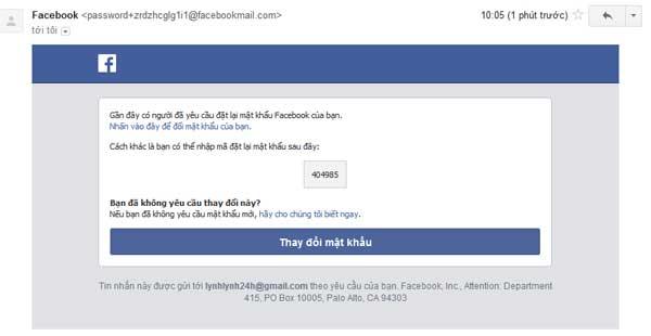 Nhận mã xác nhận của facebook rồi nhập vào 1