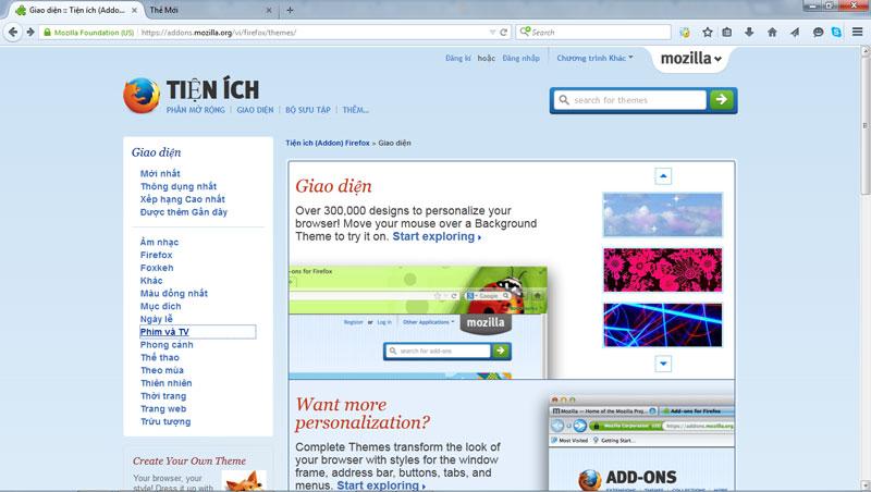 Hướng dẫn thay đổi giao diện cho Firefox - Siêu Imba